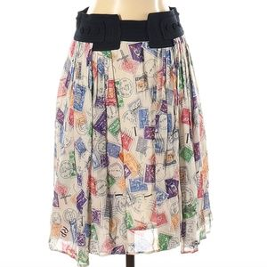 Anthropologie Edme & Esyllte Postage Stamp Skirt